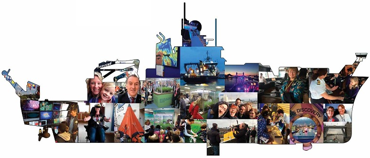 Photo montage in the shape of RRS Discovery