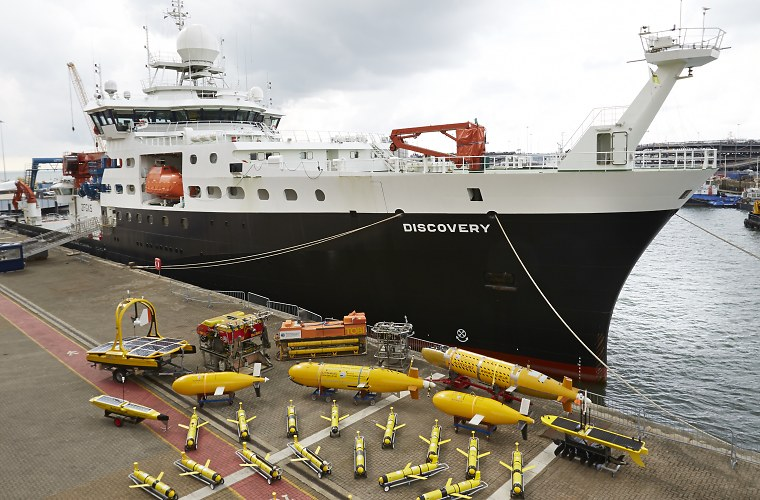RRS Discovery with an assortment of robotic underwater vehicles